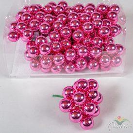 Üveg gömb élénk rózsaszín fényes 2,5cm 12db-os