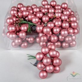 Üveg gömb bársony rózsaszín matt 2,5cm 12db-os