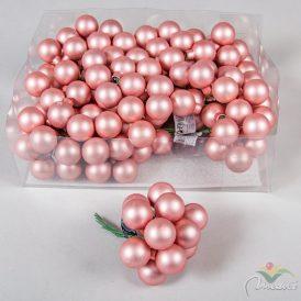 Üveg gömb cukorka rózsaszín matt 2,5cm 12db-os