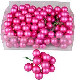 Üveg gömb élénk rózsaszín matt 2,5cm 12db-os