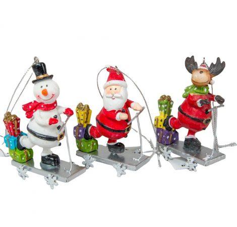 Akasztós fém karácsonyi figura rollerral M8cm