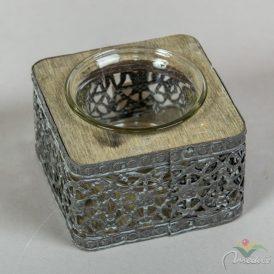 Fém-fa-üveg mécsestartó M5x8cm