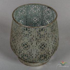 Mintás fém mécsestartó üveg betéttel ezüst M13,5x13cm