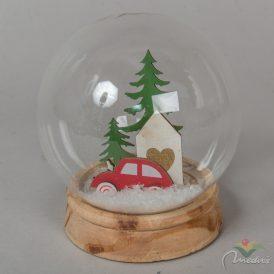 LED-es autó fenyővel üveg gömb búrában M13,5cm