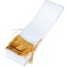 Koszorú szalag 7x200cm fehér-arany 10db/csom (db ár)