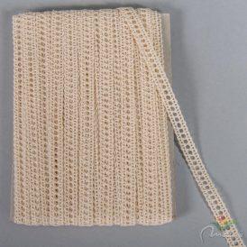 Csipke 100% pamut 0,9 cm  beige 18,29m