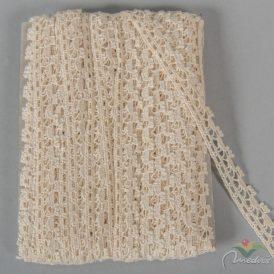 Csipke 100% pamut 1,5cm széles, beige 18,29m