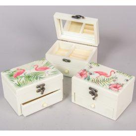 Ékszer tartó doboz osztott  tükörrel flamingós 13,8*9,5*9cm