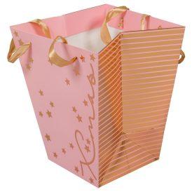 Papír kaspó rózsaszín M22x19cm