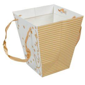 Papír kaspó fehér-arany M22x19cm
