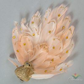 Csipeszes páva kitárt tollakkal púder- arany 15cm