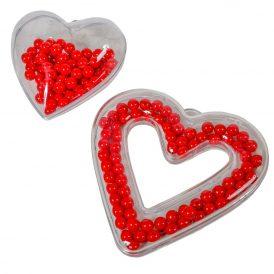 Müanyag szív átlátszó tölthető 10-13cm