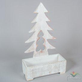 Fa virágtartó fenyő mintás fehér  M:44x11x26cm