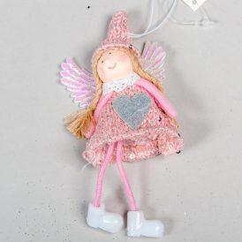 Akasztós lógólábú textila angyal 15cm
