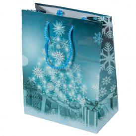 Ajándéktasak fenő hópehely mintás 18x23cm