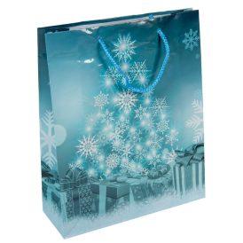 Ajándéktasak fenyő hópehely mintás 26x32cm