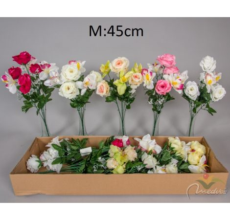 Rózsa,orchidea csokor 7v. M45cm 12/db/#