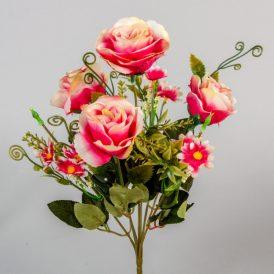 Rózsa, margaréta csokor 7v. M33cm 36db/#
