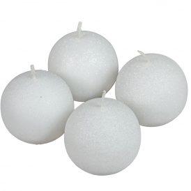Bársony glitter gömb gyertya 60mm fehér 4db/csom (db ár)