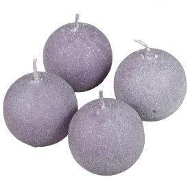Bársony glitter gömb gyertya 60mm halvány lila 4db/csom (db ár)