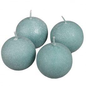 Bársony glitter gömb gyertya 60mm menta 4db/csom (db ár)