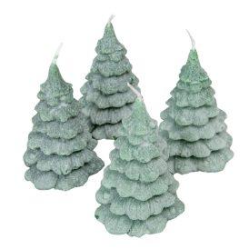 Bársony glitter fenyőfa gyertya 100x155mm zöld 4db/csom