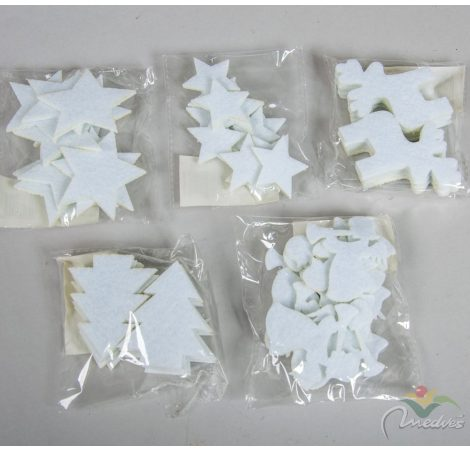 Karácsonyi filcfigura 6cm fehér 12db-os