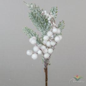 Fehér bogyós fenyő ág 28cm