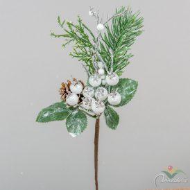 Fehér bogyós, tobozos pick 22cm