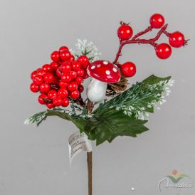 Gombás, bogyós, tobozos karácsonyi pick 19cm