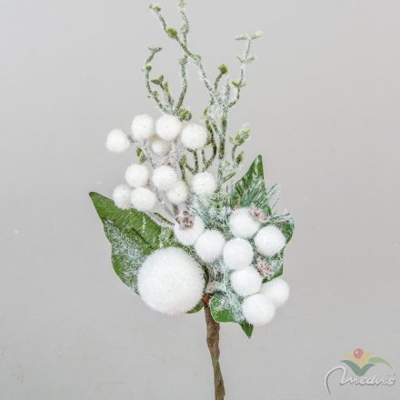 Pick csipkebogyóval,flokkolt gömbel fehér 27cm