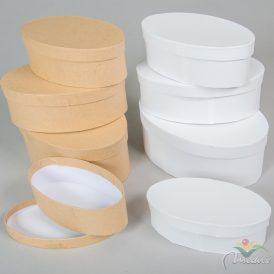 Papír doboz ovális 22,5-19,5-18,5-17cm 4db-os szett