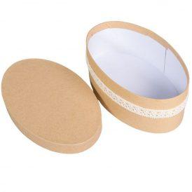 Papir doboz szalaggal ovális natúr M7x20x12cm