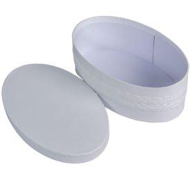 Papir doboz szalaggal ovális fehér M7x20x12cm