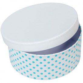 Papír doboz kerek, tetővel kék pöttyös D7x16cm