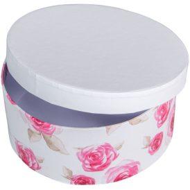 Papír doboz kerek, tetővel rózsa mintás M7x16cm