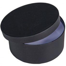 Papír doboz kerek, tetővel fekete M7x16cm