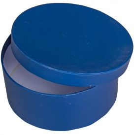 Papír doboz kerek, tetővel sötét kék M7x16cm