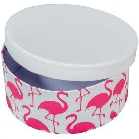 Papír doboz kerek, tetővel flamingó mintás D7x16cm