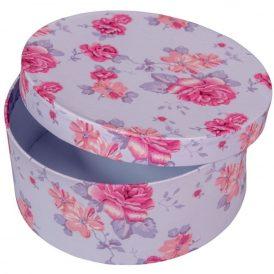 Papír doboz kerek, tetővel virág mintás  D7x16cm