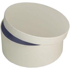 Papír doboz kerek, tetővel világos krém M7x16cm