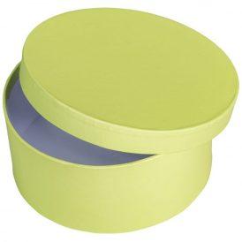 Papír doboz kerek, tetővel világos zöld  M7x16cm