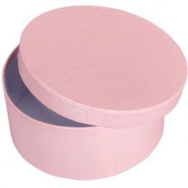 Papír doboz kerek, tetővel világos rózsaszín M7x16cm