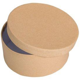 Papír doboz kerek, tetővel natúr M7x16cm