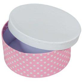 Papír doboz kerek, tetővel  rózsaszín pöttyös D7x16cm