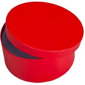 Papír doboz kerek,  tetővel piros M7x16cm