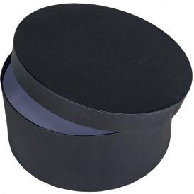 Papír doboz kerek, tetővel fekete M9x20cm