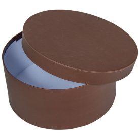 Papír doboz kerek, tetővel  barna M9x20cm
