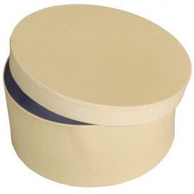 Papír doboz kerek, tetővel  krém M9x20cm
