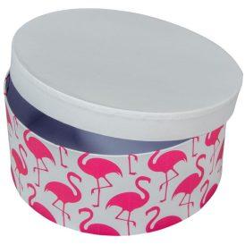 Papír doboz kerek, tetővel flamingó mintás M9x20cm
